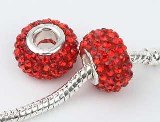 2pcs red Swarovski Crystal Charm Beads fit bracelet