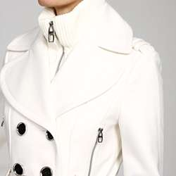 Miss Sixty Womens Belted Knit collar Peacoat