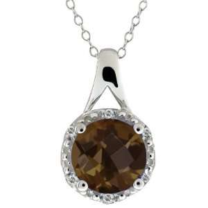 1.84 Ct Round/checkerboard Brown Smoky Quartz and Topaz