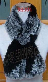 RH306 3COLORS Real Rex Rabbit Fur Scarf Wrap