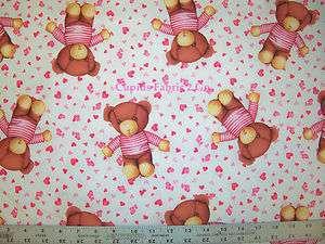 RJR Baby Love Adorable Teddy Bear Pink Fabric BTY