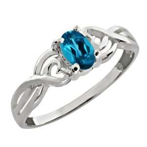 0.55 Ct Oval London Blue Topaz 10k White Gold Ring