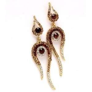 CRYSTAL JEWELRY   Gold Tone Brown Austrian Crystal Earrings Jewelry