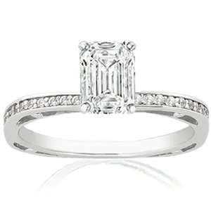 0.85 Ct Emerald Cut Petite Diamond Engagement Ring Pave