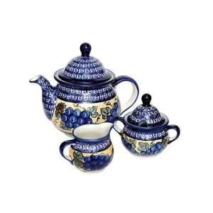 Polish Pottery Grapes Three Piece Tea Set with Cobalt Trim