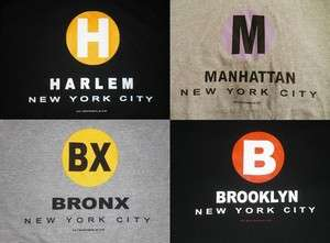 Bronx, Harlem, Manhattan T Shirts. MTA Subway T Shirts, New York City
