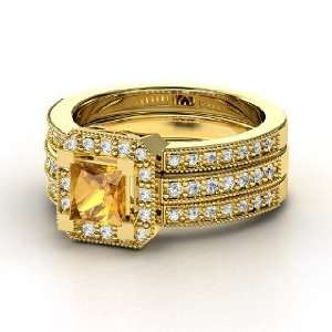 Va Voom Ring, Princess Citrine 14K Yellow Gold Ring with Diamond
