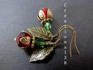 Christmas Cherry Swarovski Crystal Embossed Leaf Earrings Gift Idea