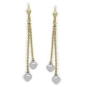 Two Tone 10 Karat Gold Double Heart Earrings Jewelry