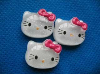 20 Resin Glitter Hello Kitty Buttons/Bow Hot Pink K003 2