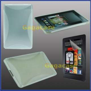 Clear  Kindle Fire TPU Gel Case Skin Cover + Anti Galre Screen