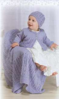Lacy Baby Sets to Knit Patterns Knitting Afghans Bonnet Cap Hat