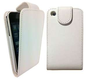 WHiTE SOFT LEATHER FLiP CASE COVER FOR IPHONE 3G 3GS