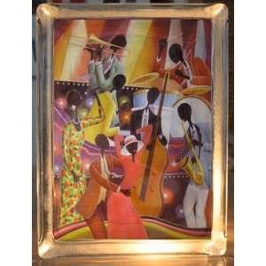 African American Jazz Art Decorative Glass Block Light