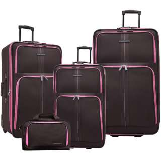 Piece Rolling Upright Expandable Luggage Set, Brown/Pink Luggage