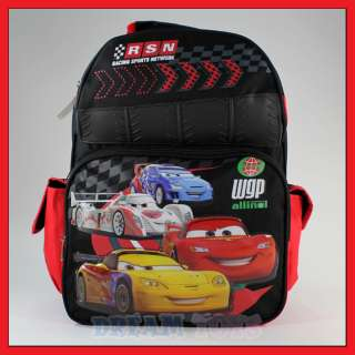 16 Disney Cars Rubber Backpack McQueen Book Bag Boys