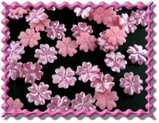 100pcs Applique D Pink Polka Dots Satin 5 Petal Flower