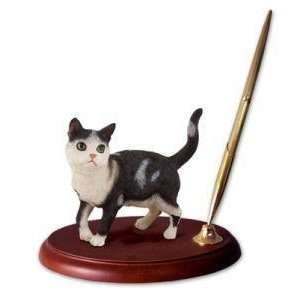 NEW Executive Desk Black & White Tabby Cat Pen Set