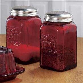 Depression Era Style Red Glass Salt & Pepper Shakers