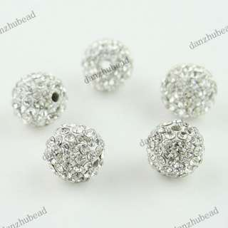 20X CLEAR CRYSTAL ALLOY DISCO BALL SPACER LOOSE BEADS WHOLESALE