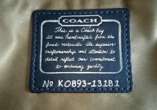 Ed Legacy Metallic Drawstring Leather Purse Bag Navy Blue 13181 RARE