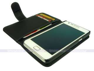 Black Leather Case Cover for Samsung Galaxy S II i9100 with Inner Card