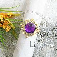 12 pieces Gold Gem Napkin Ring Wedding Party Bridal Shower Favor