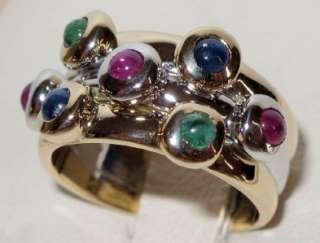 CABOCHON EMERALD RUBY & SAPPHIRE 0.60ct TWO TONE RING 14K Gold NEW