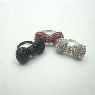 Free P&P jewel 3pcs hellokitty pink & silver & black crystal bow ring