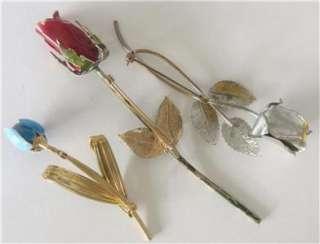 LOT 22 VTG FLOWER POWER ENAMEL RHINESTONE BROOCHES PINS EARRINGS RETRO