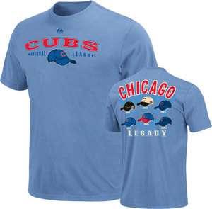 Chicago Cubs Cooperstown MLB Baseball Nostalgia Light Blue T Shirt