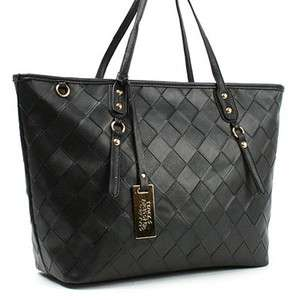 Womens Synthetic Leather Mesh Shoulder Bag M549 Black Tan Dark Brown