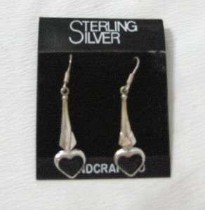 STERLING SILVER/BLACK ONYX HEARTS PIERCED EARRINGS