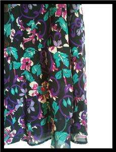 Floral Print Sleeveless Top Blouse Black Purple Teal Pink SZ M/L? Judy
