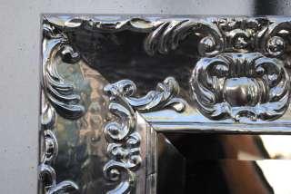 Ornate Silver Lacquer Glossy Bathroom Dresser Mirror