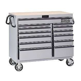 46 in. 13 Drawer Mobile Tool Cart   Silver  Craftsman Professional