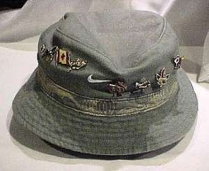 SLIGHTLY WORN A MANS FISHING HAT WITH 8 CANADIAN PIN