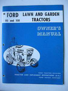 1960s FORD 80 & 100 LAWN & GARDEN TRACTOR OPERATORS MANUAL