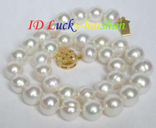 12 14mm LUSTER round white freshwater pearls necklace