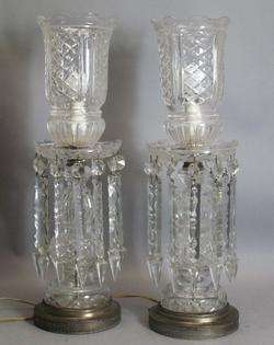 Large 23 Bohemian Cut Crystal Lustres lamp c. 1930s