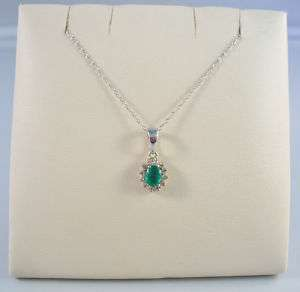 14K WHITE GOLD LADIES NATURAL EMERALD/DIAMOND PENDANT
