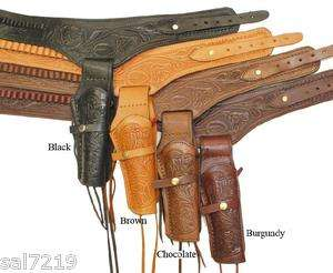 45 Caliber Western Double Gun Holster Beautiful Hand Tooled Leather