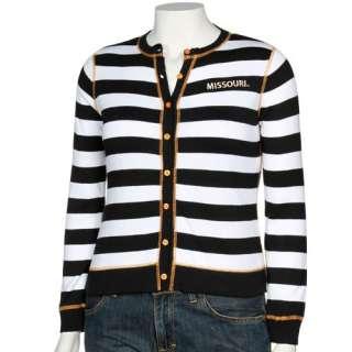 Ladies Black White Striped Full Button Cardigan Sweater