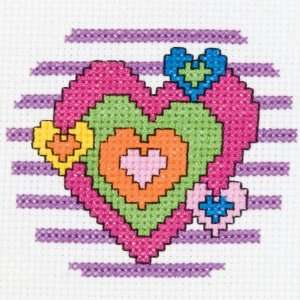 1st Stitch Counted Mini Cross Stitch Kit, Heart Arts, Crafts & Sewing