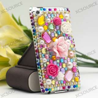 flower Bling Crystal Hard Case for iPod touch 4G 4th skin PC129