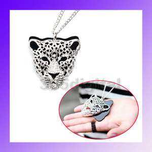 Rhinestone Leopard Tiger Jaguar Lion Head Necklace NEW