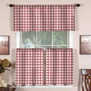 3pc Country Cafe Kitchen Curtains Set Birdhouses Ivy Red Green Blue