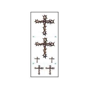 Water Transfer Tattoo Thorn Crosses(3 Pack): Health
