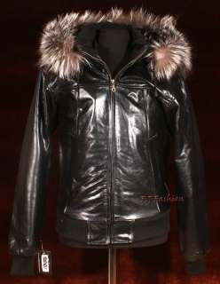 Real Fox Fur Hooded Hoody Bomber Winter Warm Leather Jacket