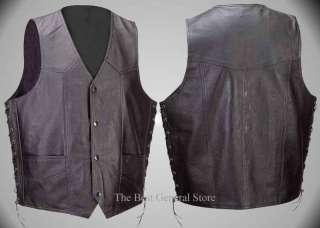 Mens Lined Black Leather Biker Motorcycle Vest w Laces